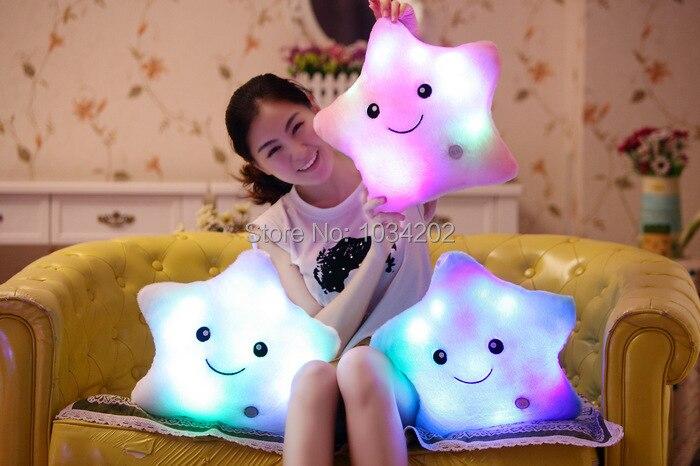 Cute Colorful Illuminated Star Shaped LED Cushion Emoji Throw Pillow Novelty Gifts Christmas Gift