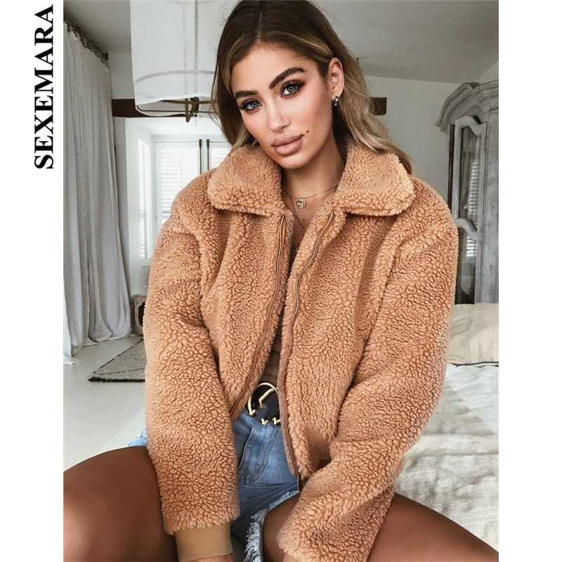 SEXEMARA Warm Woolen Mantel Frauen 2018 Herbst Winter Fashion Zipper Fleece Jacke Streetwear Teddybär Mäntel Outwear C78-AE39