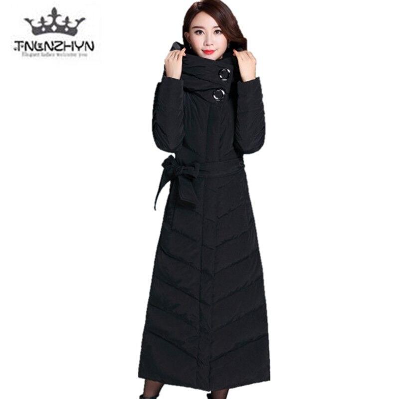 2019 Haut de gamme Femmes D'hiver Veste Manteaux Plus La taille Solide couleur Chaud Vers Le Bas Veste Très long Tempérament Épais D'hiver coton Vestes