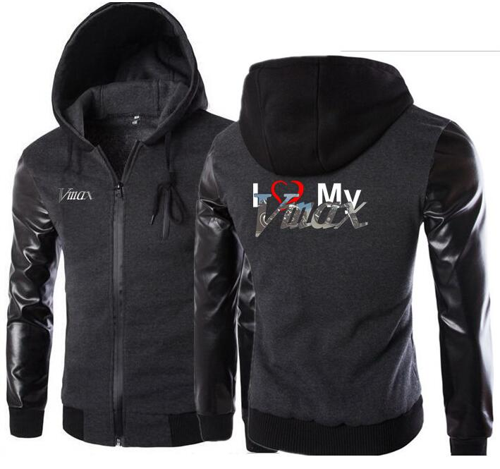 Men Leather Sleeve Sweatshirt Male Hoody Tracksuit Bomber Autumn Winter I Love My Yamaha Vmax Motorcycle Hoodies Hooded Jacket In Pain Back To Search Resultsmen's Clothing