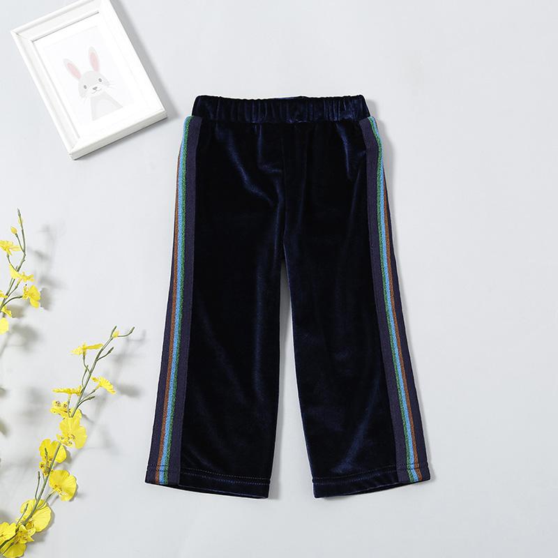 Spring Autumn Baby Girls Woolen Pants Kids Girls Black Casual Wide Leg Pants Children's Clothing For 1-5 Years