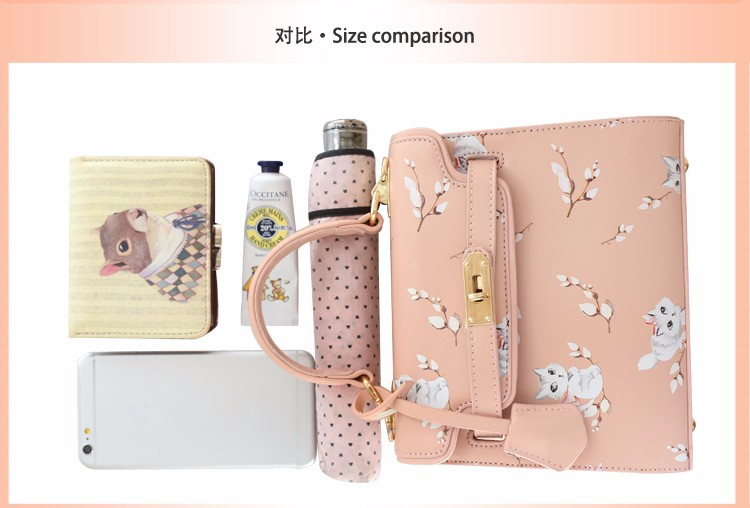 x23 New Sale Bolsas Mujer Small Peekaboo Saddle Faux Leather PU Pink Cat Floral Women\'s Handbags For Lady  Messenger Bags Totes