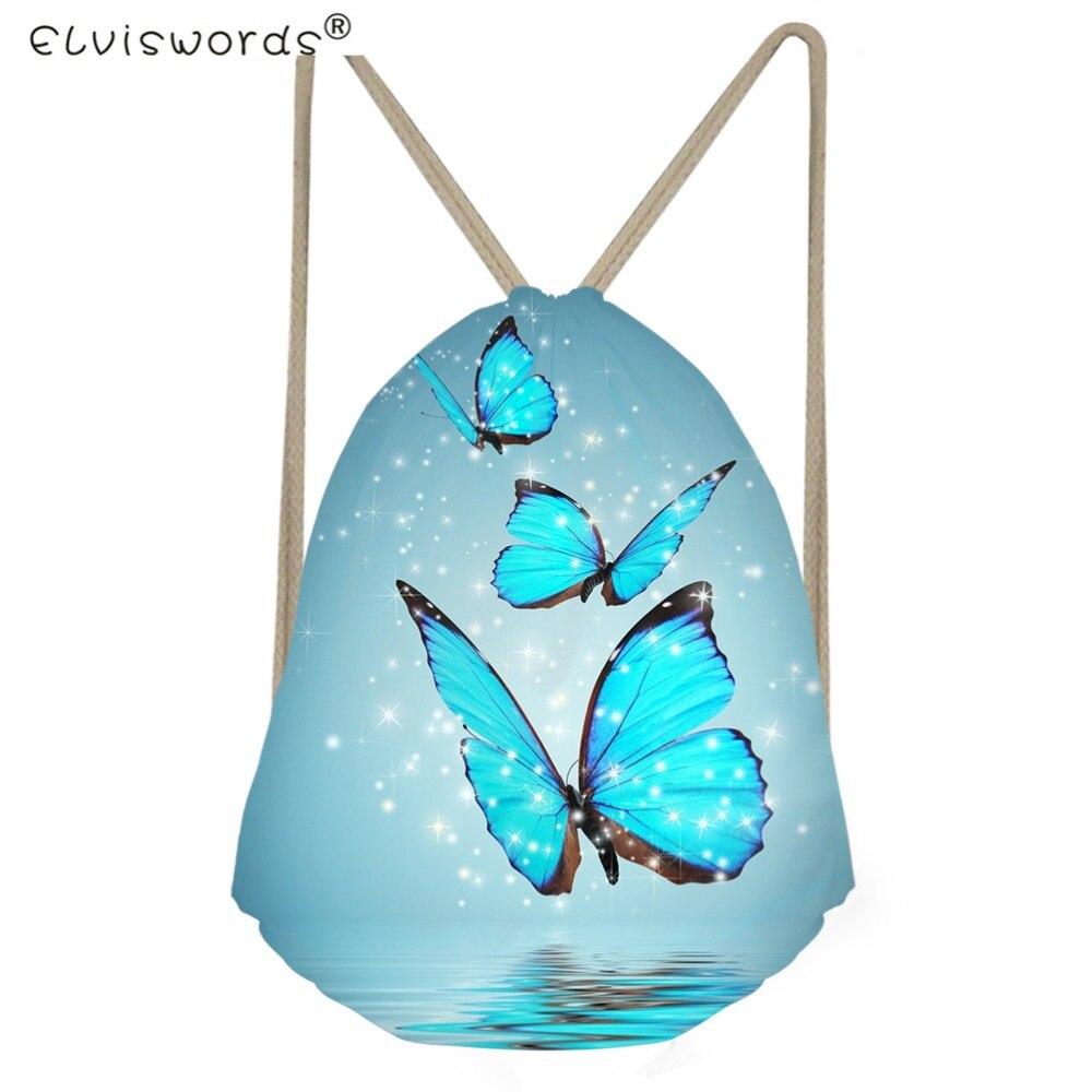 ELVISWORDS Small Women Drawstring Bag Sweet Butterfly Printed Sport Female Drawstring Backpacks Travel Storage Bag for