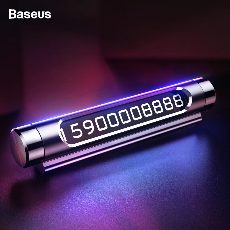 Baseus Car Temporary Parking Card For Car Phone Holder Luminous Phone Number Plate Auto Rotary Car-styling Accessories Мотоцикл