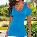 2016 Nuevo Estilo de la Llegada del verano de Las Mujeres Camisa De Moda Sexy Sin Respaldo Sólido Camisa Hermosa camisa Flaca