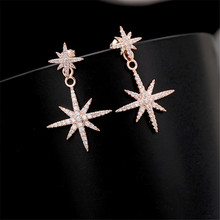 цены New Delicate Copper With Cubic Zirconia Star Earrings White Gold Color Crystal Stud Earrings For Women Jewelry