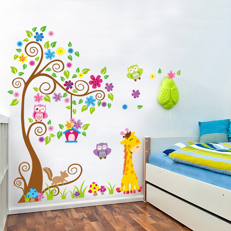 Cartoon forest animal giraffe lion owl wall stickers vinyl diy flower tree animal wall decals for kids room bedroom decor murals in wall stickers from home