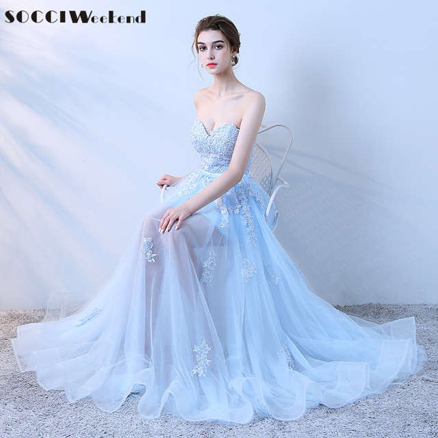 Socci Weekend New Liques Long Evening Dresses 2018 Sweetheart Sleeveless Sky Blue Color Formal Wedding Party