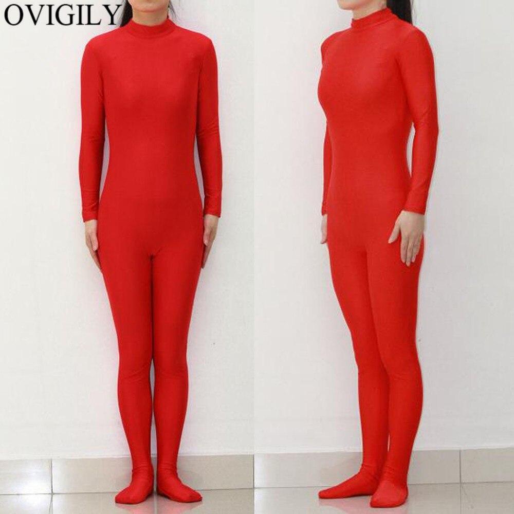OVIGILY Adults Lycra Nylon Turtleneck Zentai Women Full Body Bodysuits Spandex Skin Tight Suits Black Zentai Costumes For Female