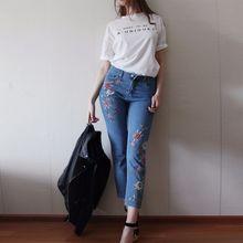 NELLBANG Высокой талией регулярные пят вышивка красочный цветок леди джинсовые брюки 2017 весенняя мода джинсы