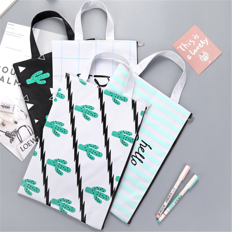 1pcs/lot Cute A4 Cactus Canvas Bag Portable File Pocket Large Capacity Pencil Bag Stationery Storage School Supply