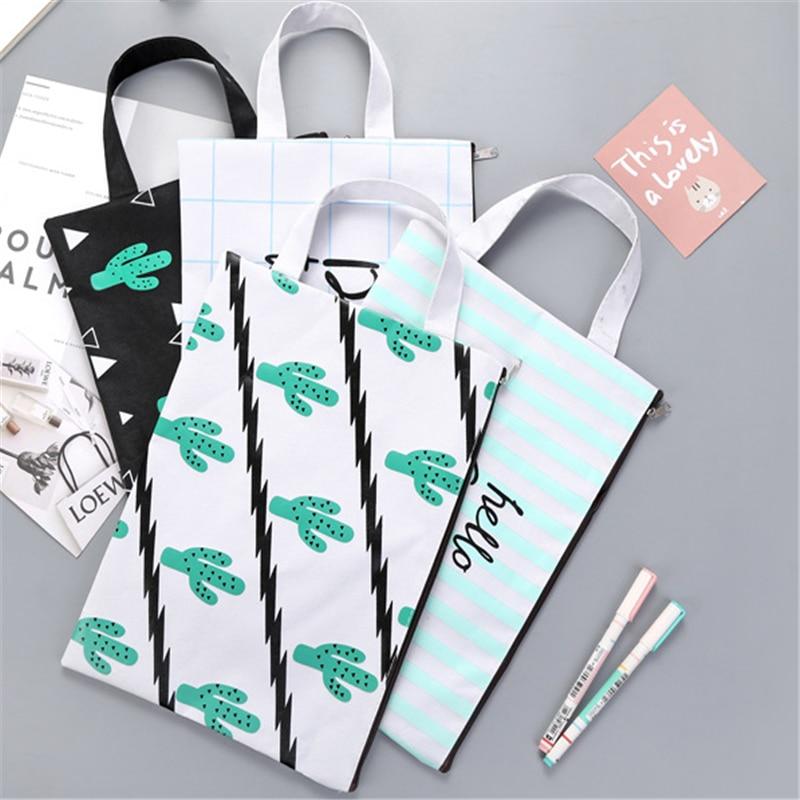 1pcs/lot Cute A4 Cactus Canvas Bag Portable File Pocket Large Capacity Pencil Bag Stationery Storage School Supply