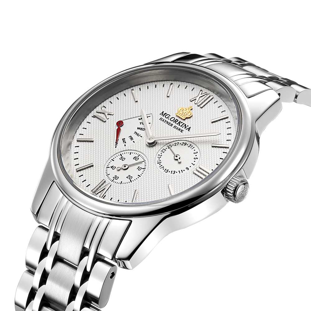 MG ORKINA Men Clock Stainless Steel Band Japan Movement Day Date Male Analog Quartz Watch Chronograph