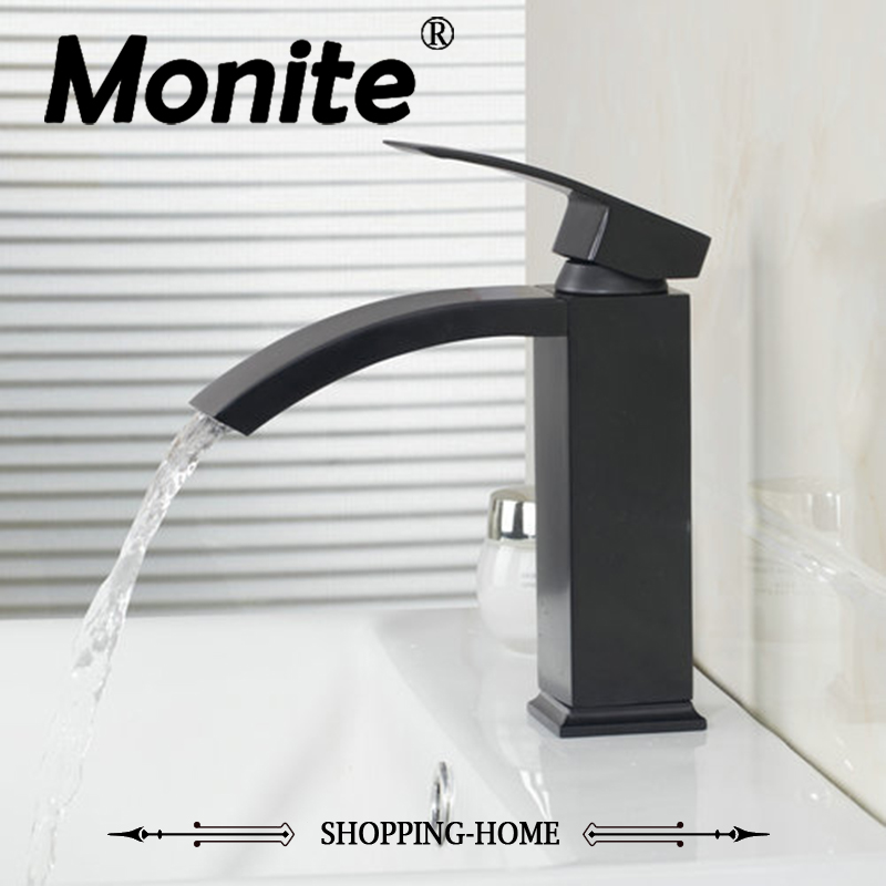 MONITE Waterfall Spout Bathroom Basin Torneira Oil Rubbed Black Bronze Deck Mount 8319O Single Handle Sink Faucets,Mixers &Ta hello tall wash basin bathroom oil rubbed black bronze 97105 deck mounted ceramice single handle sink torneira faucets mixer tap