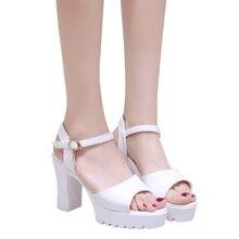 Mujer Sandalias verano plataforma boca de pescado Sandalias de tacón alto  para las mujeres zapatos de hebilla sandalias pendient. 621edde73c28