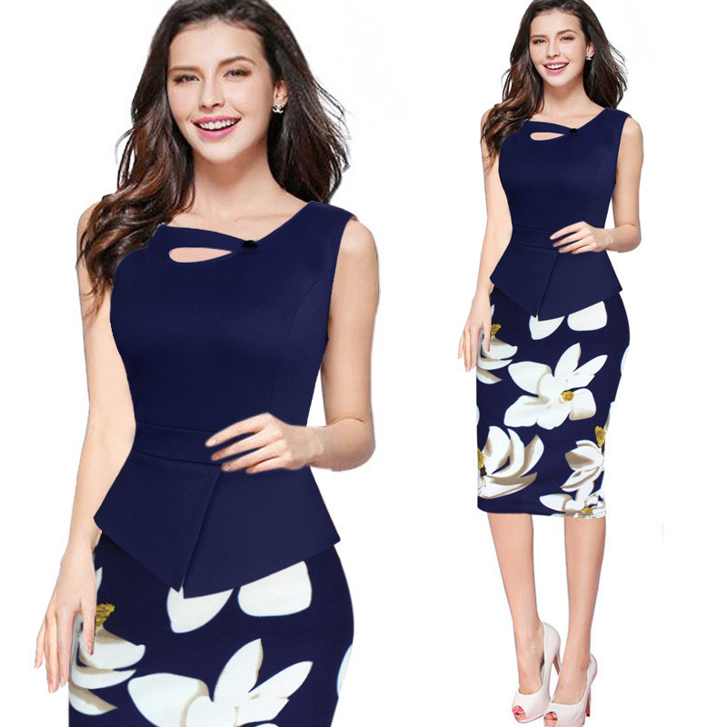 Elegant Work Women Dress Office Business Drapped Contrasting Bodycon Slim Pencil Lady Dresses Sexy Front Summer Dress Wholesale