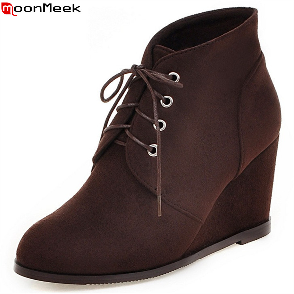 MoonMeek fashion autumn winter new arrive women boots round toe wedges boots lace up flock black brown blue ankle boots front lace up casual ankle boots autumn vintage brown new booties flat genuine leather suede shoes round toe fall female fashion