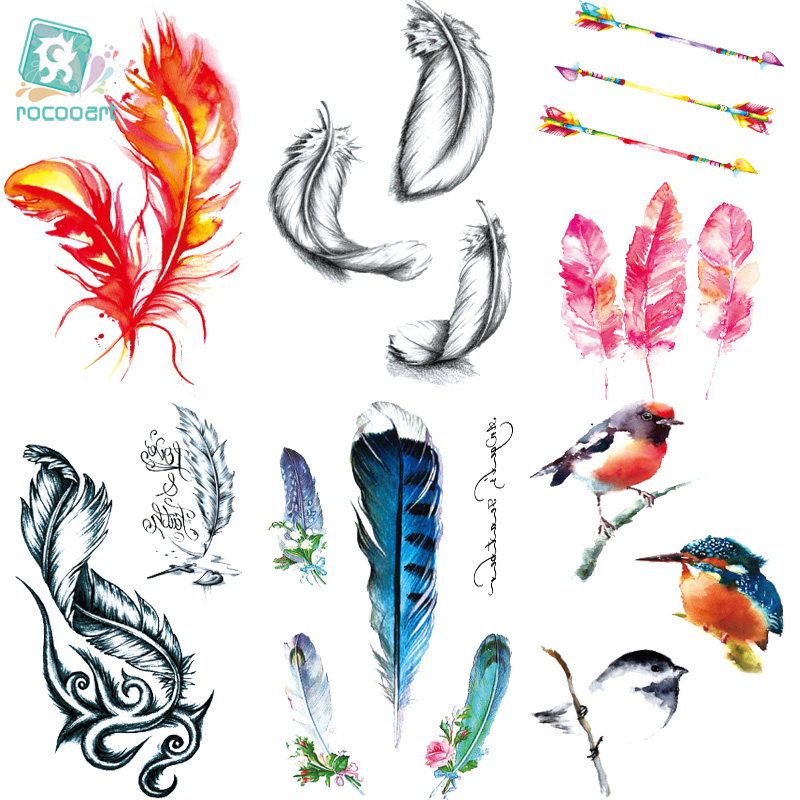 Rocooart RC396-463 New Water Proof Temporary Tattoo Stickers Cartoon Coloful Bees Feather OWL Fake Flash Taty Tattoo Tatouage