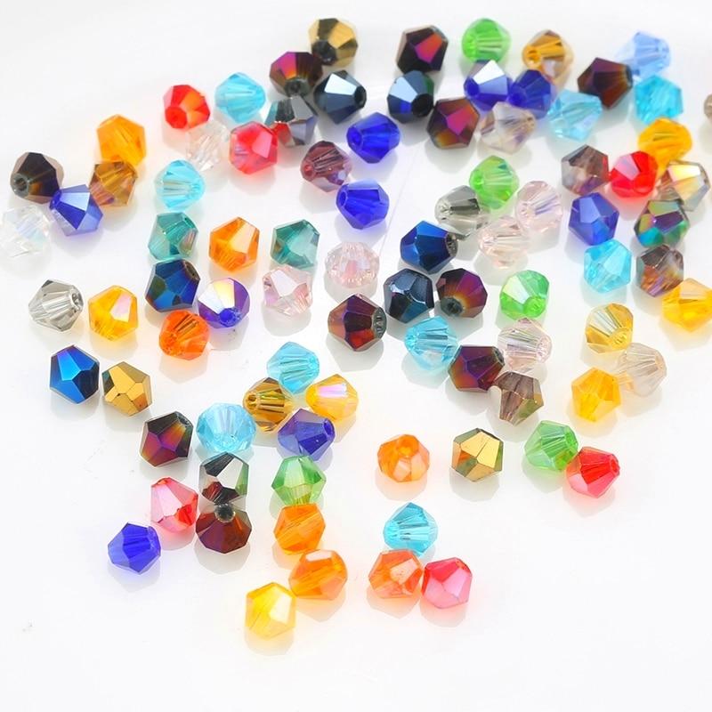 100st 4mm Flerfärgade smycken kristall pärlor bicone pärlor pläterade AB glas pärlor armband halsband Smycken Göra tillbehör DIY