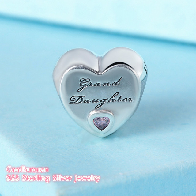 4df7e7805 2018 Autumn Original 925 Sterling Silver Granddaughter's Love Charm, Pink  CZ heart Beads Fit Pandora Charms Bracelet Diy Jewelry