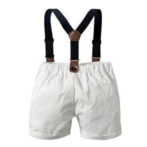 Image 4 - תינוק ילד Romper חליפת עבור תינוק בגדי קשת נטלמן פורמליות ילדי חולצה משובצת + לבן חגורת מכנסיים יילוד בגדי סט