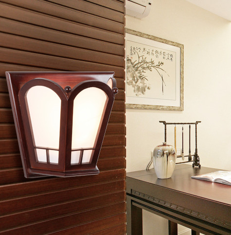 Chineses red wood frame wall lamps Modern classic design white parchment E27 LED lamp for bedroom&porch&stairs&studio QLBD007