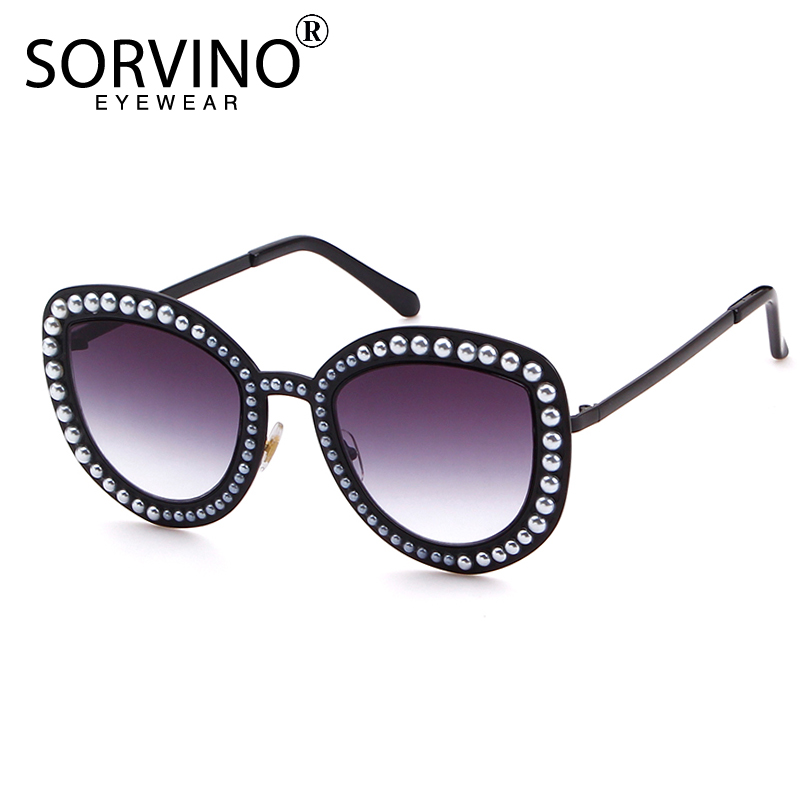 38486a3f37 SORVINO Pearl Embellished Cat Eye Sunglasses Luxury Brand Designer Womens  Unique Cateye Sun Glasses Bling Purple Shades SVN51-in Sunglasses from  Apparel ...