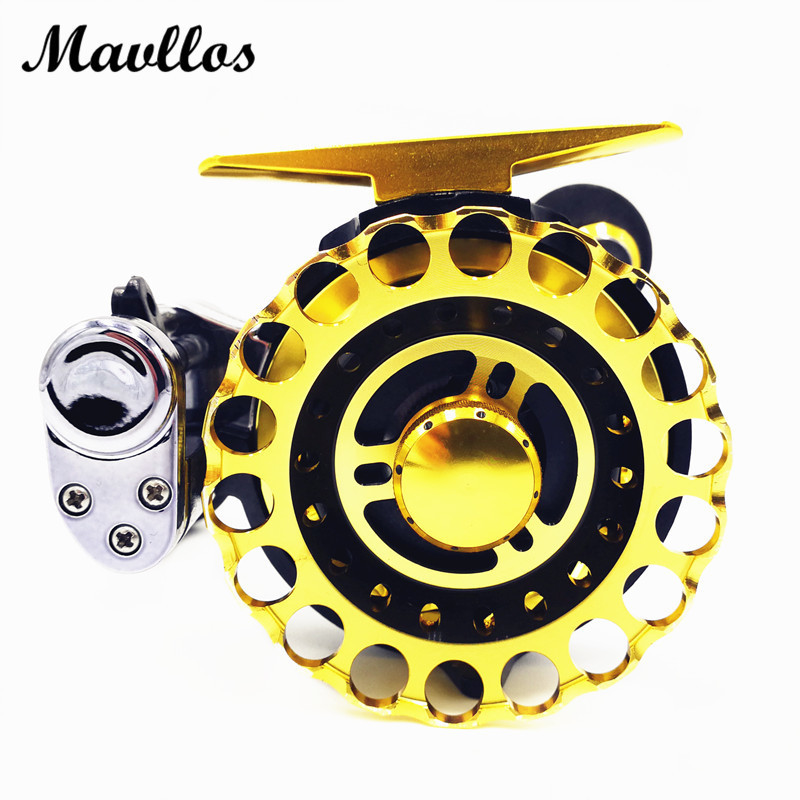 Mavllos Gold 9 Bearings Metal Spool Baitcasting Trolling Reels Saltwater Fly Fishing Reel High Ratio 2.6:1 Left Right Hand metal round jigging reel 6 1 bearing saltwater trolling drum reels right hand fishing sea coil baitcasting reel