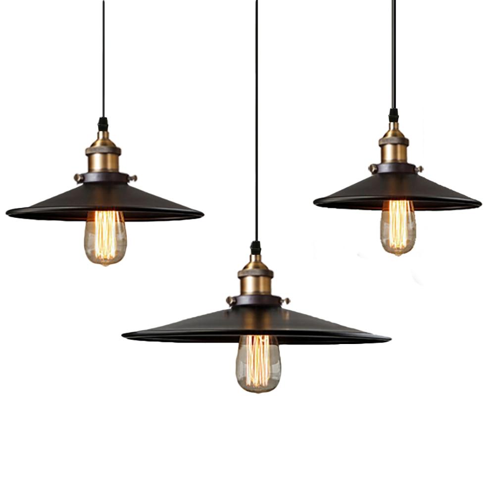 Black Pendant Lamp Vintage Industrial Retro Loft Light Iron Nordic Metal Lighting Edison Lights Hanging Hanglamp Dining Room