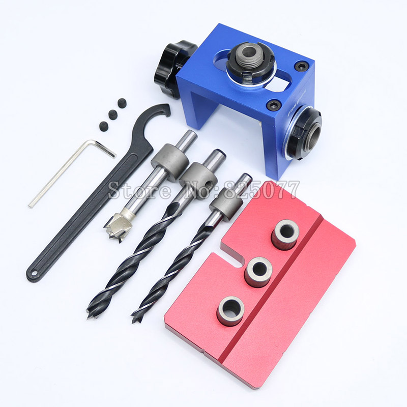 2018 Vesion New Woodworking Pocket Hole Locate Punching Jig Kit + Drilling Bit Bushing Tools Set JF1121 new woodworking pocket hole locate punch jig kit step drilling bit wood tools set free shipping