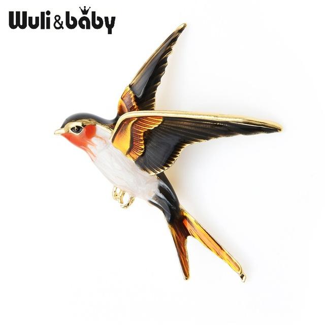 Enamel Flying Swallow Brooch Pins For Women Animal Bird Broche Jewelry Gift