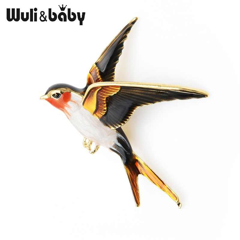 Wuli Bayi Enamel Terbang Swallow Bros Pin untuk Wanita Hewan Burung Brocade Perhiasan Hadiah