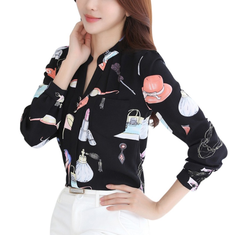 Corea Mujeres de La Manera Blusas y Camisa de Señora Ocasional Flojo Impreso Chi