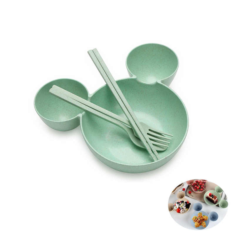 food grade Wheat material Cute Cartoon mickey mouse big Head bowl Fruit plate tableware dish for Spoon Chopsticks Tableware Set