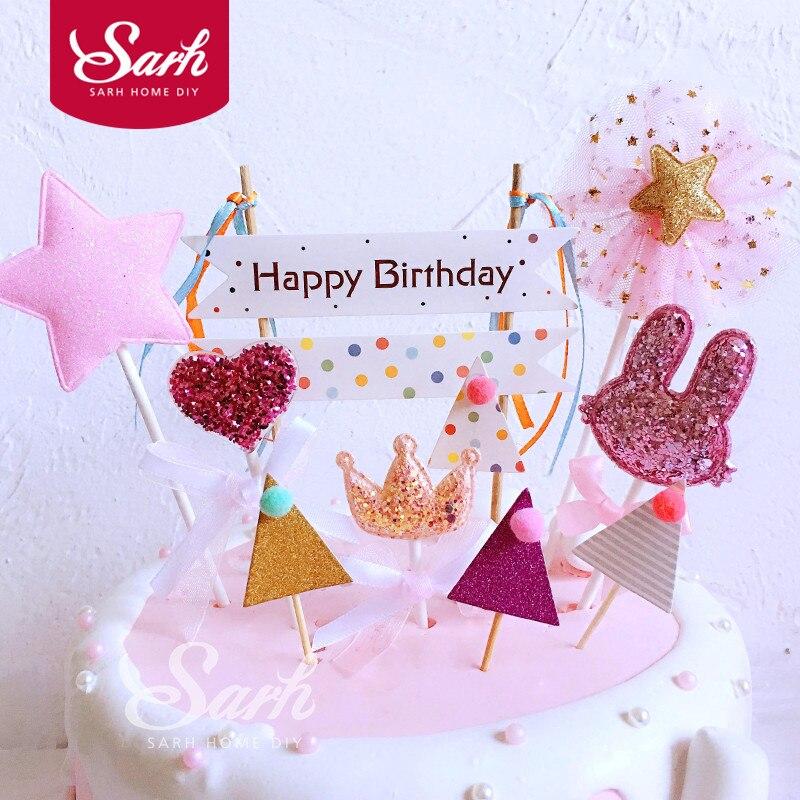 1 компл. розовый любовь корона коллекции с днем рождения TRIANGEL флаг с лентой торт Топпер для вечерние украшения десерт милые подарки ...