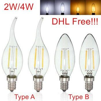 LED Failment Candle light E14 2W/4W LED Bulb lamp AC220V 230V 240V Emergy saving LED Candle light 50pcs/lot,DHL/Fedex Free ship