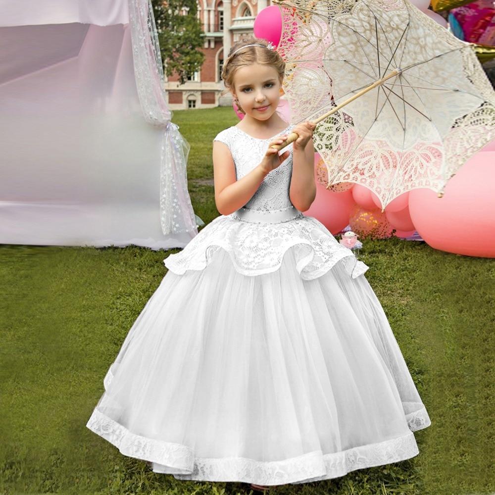 White Children Ceremony Ball Gowns Little Lady   Flower     Girls     Dress   For Wedding Long Performance   Girl   Infant Graduation Costume