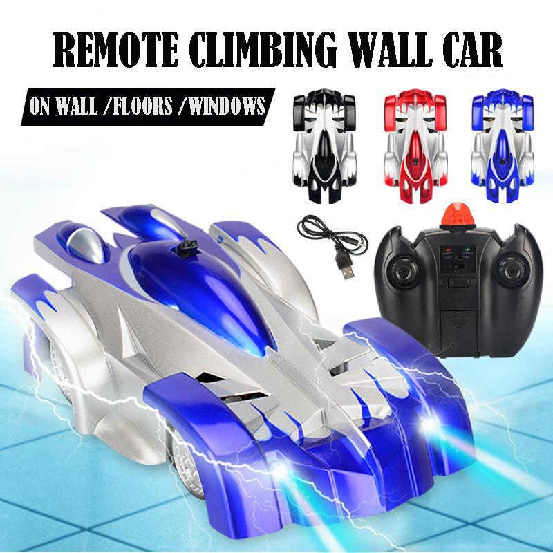 1 pçs rc carro de controle remoto escalada rc carro com luzes led 360 graus rotação dublê brinquedos máquina parede rc carro menino natal presente