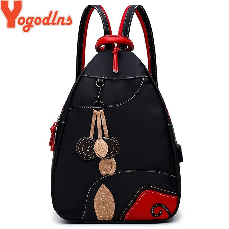 Yogodlns NEW Retro Leaves Student Style Women Backpack Multifunction Girls Nylon Waterproof Backpack School Bag