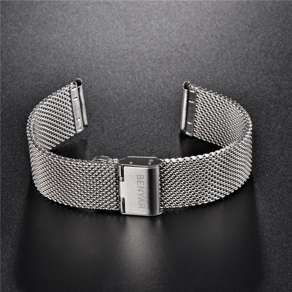 benyar Watchband 22mm Universal Stainless Steel Metal Watch Band Strap Bracelet Silver Balck Watchband hook buckle top quality new stainless steel strap 18mm 13mm flat straight end metal bracelet watch band silver gold watchband for brand