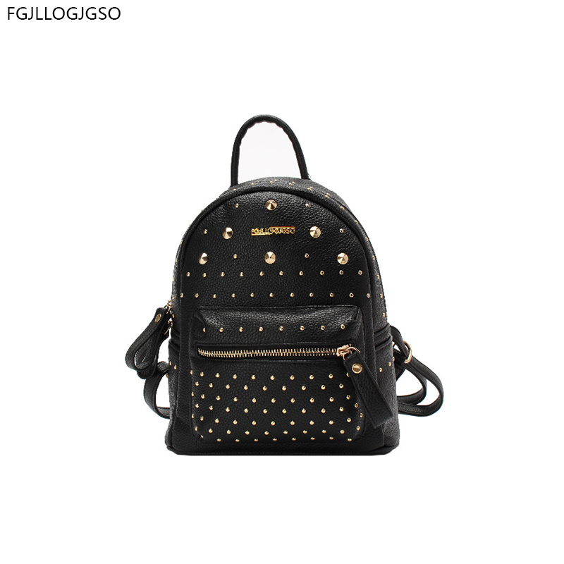 2017 new fashion Women's Shoulders Bag for lady winter casual Rivets school bag female leather backpack women mochila escolar rdgguh backpack bag new of female backpack autumn and winter new students fashion casual korean backpack