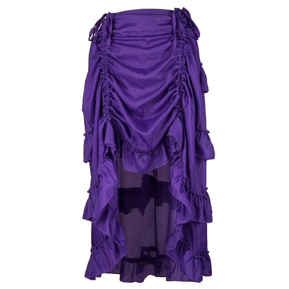 Victorian Yellow Ruffles Chiffon Asymmetrical Adjustable Front Length Gothic Skirts Women Corset Steampunk Skirt Plus Size 6XL