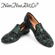 New High-end printing men shoes luxury fashion wedding and party loafers flats size US 6.5-13.5
