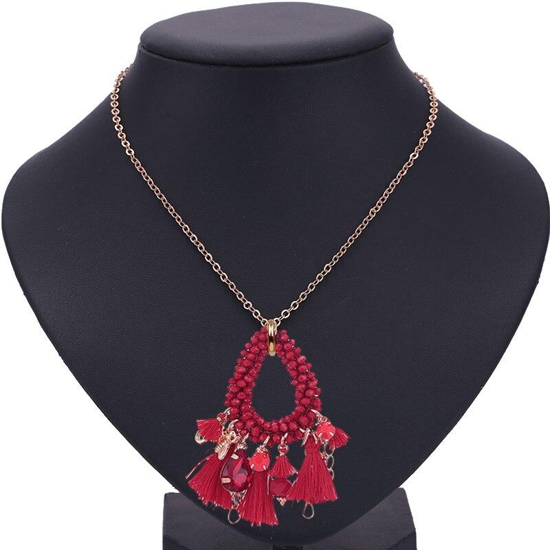 Choker necklace for woman boho Pendientes woman necklace tassel necklace (13)
