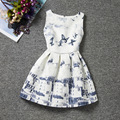 Fashion design Chinese style water-ink paintin patterns dresses sleeveless Oneck girls dress knee-length quality girl clothes