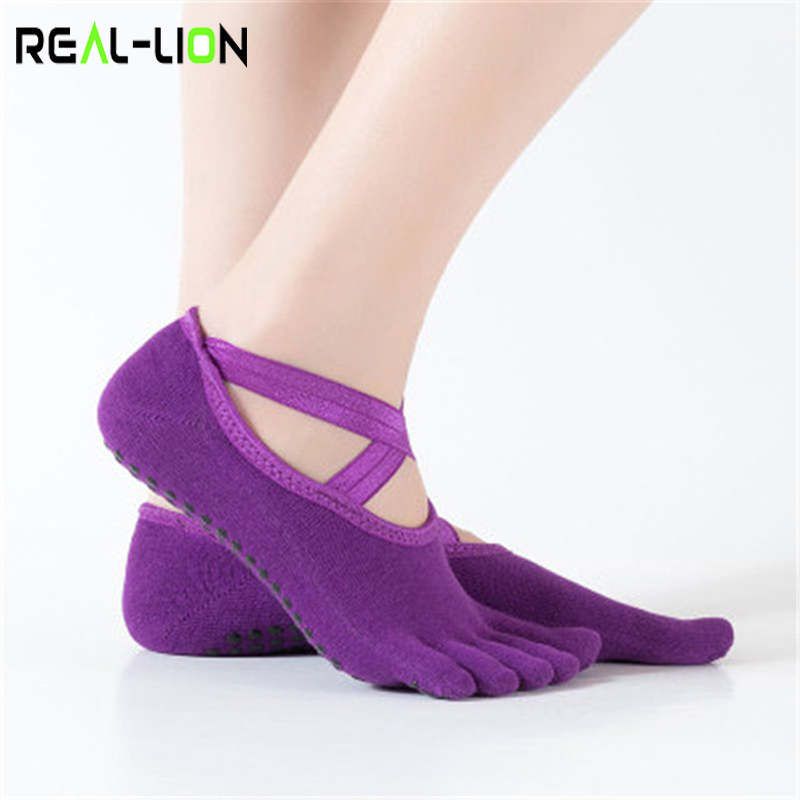 1 Pair Women Yoga Socks Anti-Slip Bandage Backless Massage Sport Yoga Socks Breathable Finger-Separated Pilates Ballet Socks