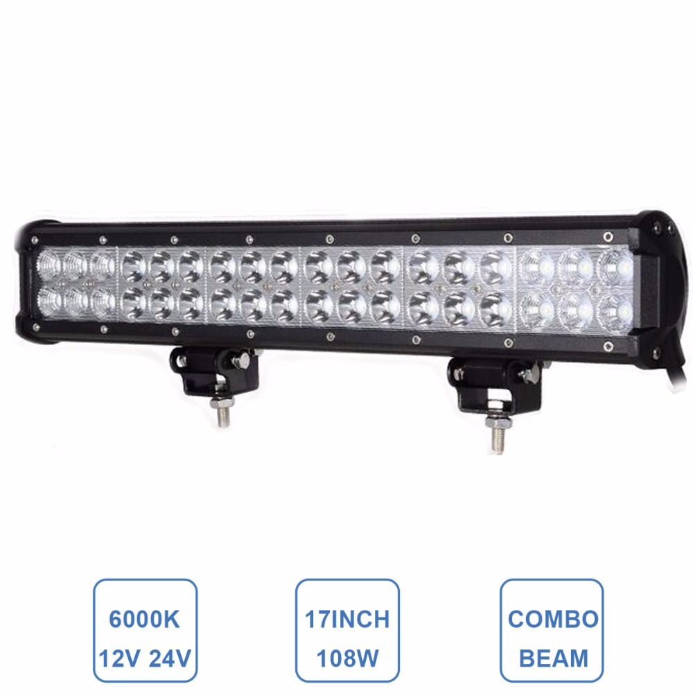 Offroad 108W LED Light Bar 17'' 12V 24V Car Truck Trailer Boat Tractor 4x4 Wagon Pickup ATV Van Camper Combo Driving Fog Lamp 32 300w curved led bar combo offroad driving light atv suv 4x4 truck trailer camper tractor pickup wagon utv 4wd off road lamp