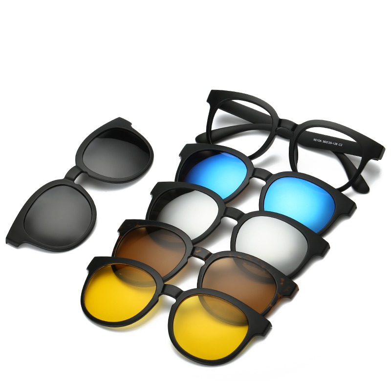 928f8242e Brightzone Retro 5 + 1 Definir Óculos Unisex Luz Retângulo Espelho Óculos  Polarizados Clip-on