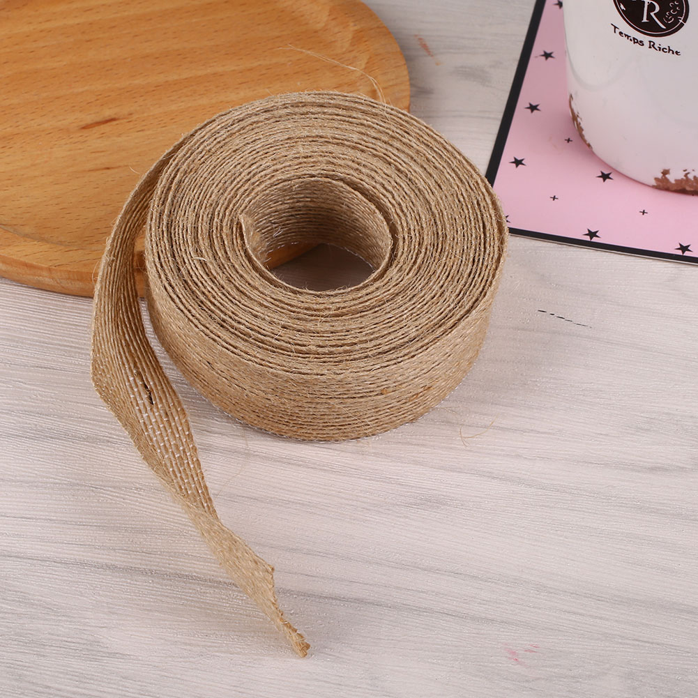 20mm x 5M Vintage Natural Jute Burlap Wedding Chair Floristry Craft Decor Ribbon Freeshipping