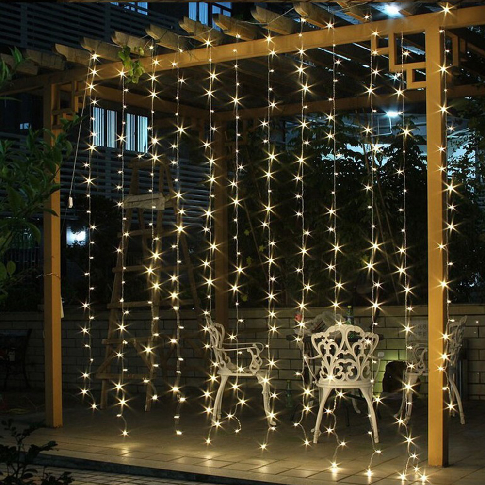 3x1/3x2/4x2m 320 LED Icicle String Lights Christmas xmas Fairy Lights Outdoor Home For Wedding/Party/Curtain/Garden Decoration 1